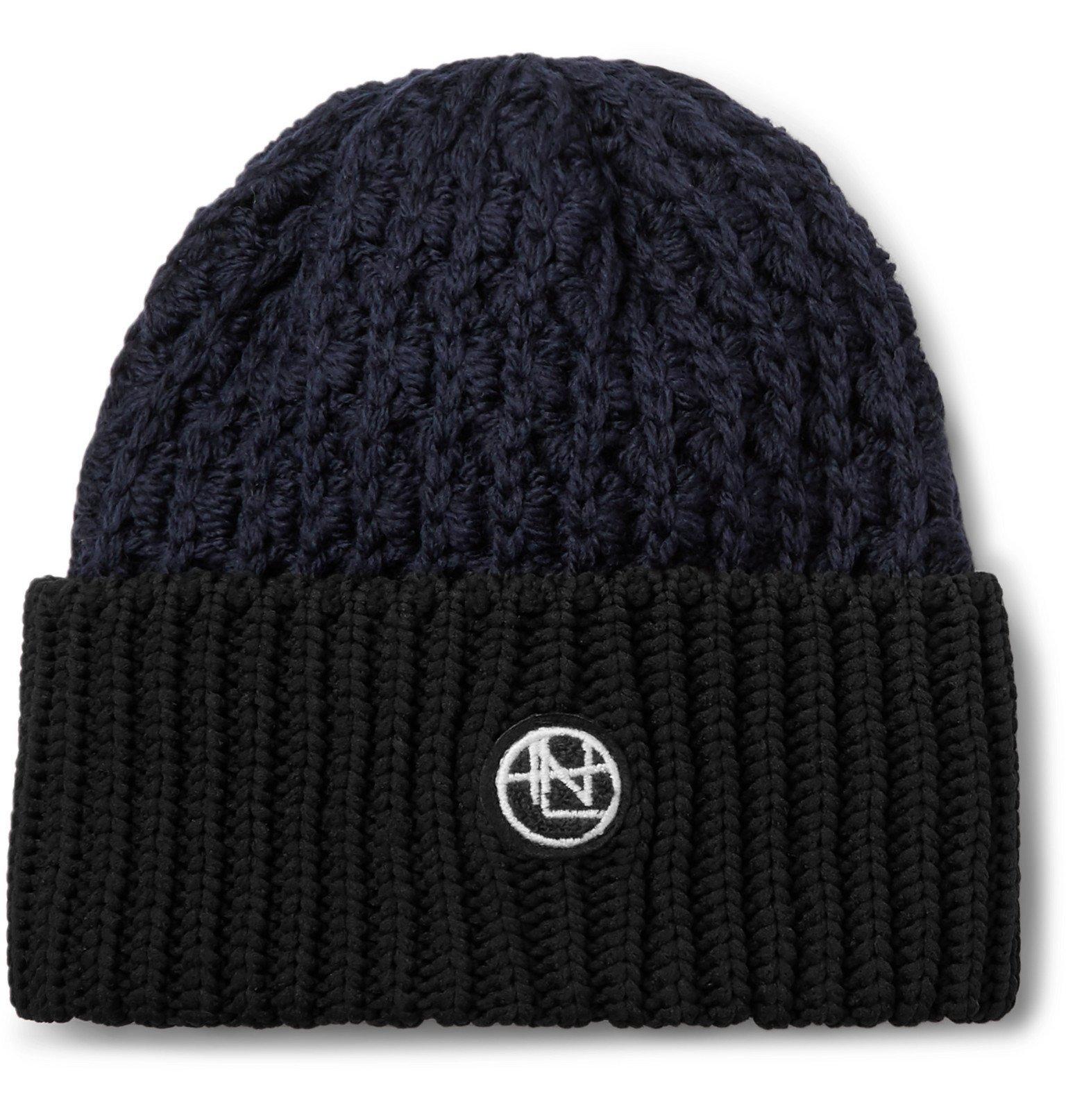 Photo: nanamica - Logo-Appliquéd Colour-Block Knitted Beanie - Black