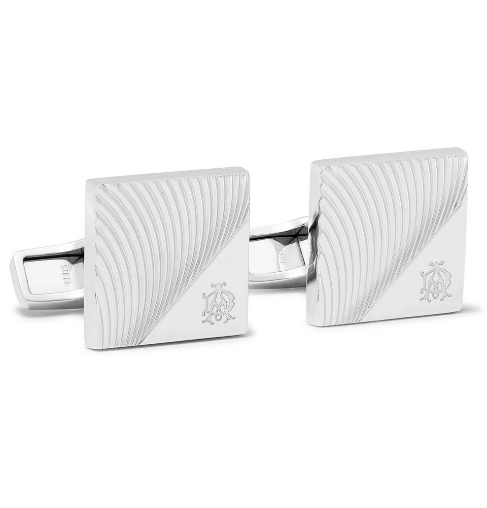 Dunhill - Engraved Rhodium-Plated Cufflinks - Silver