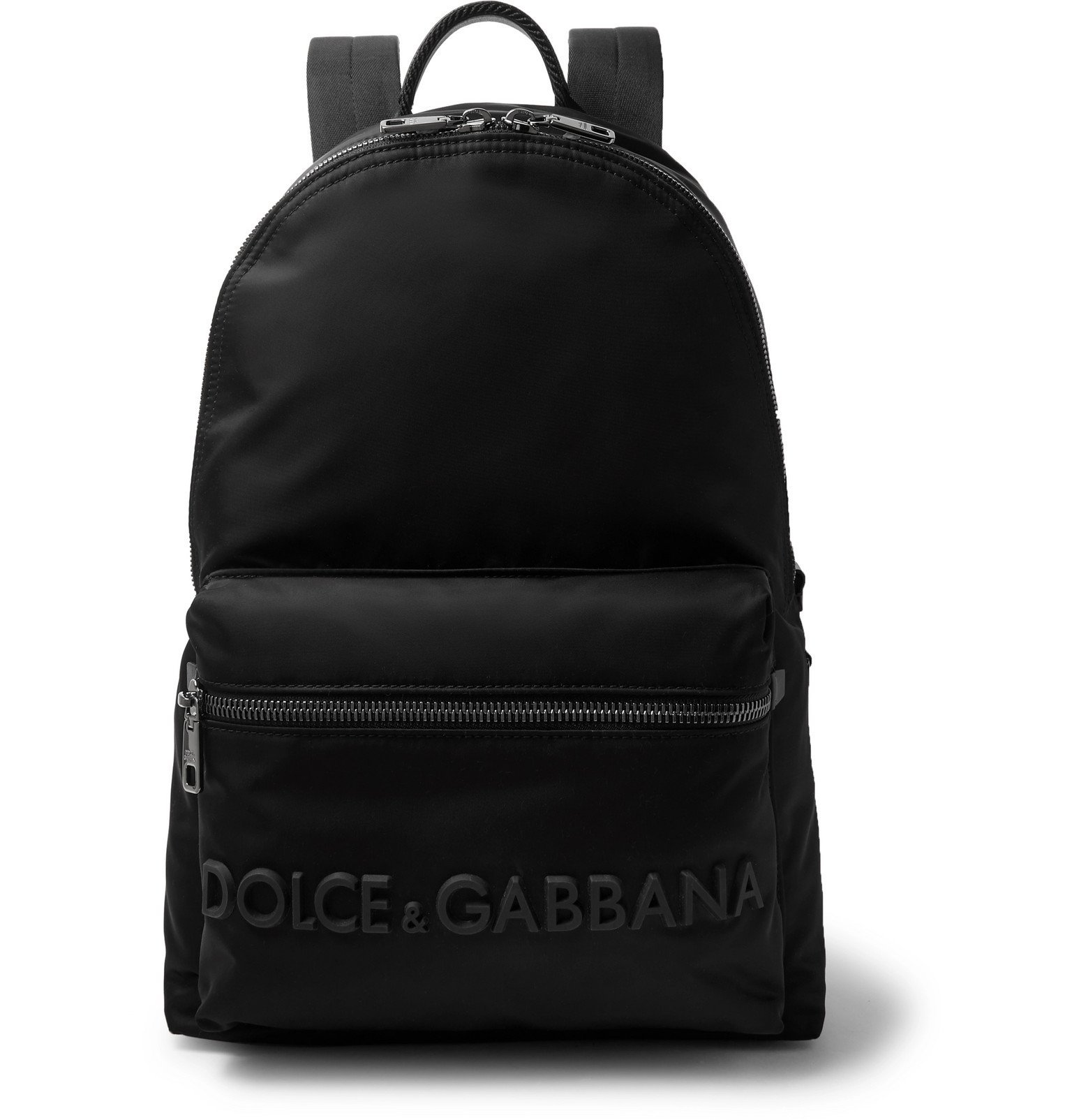 Photo: Dolce & Gabbana - Logo-Appliquéd Leather-Trimmed Shell Backpack - Black