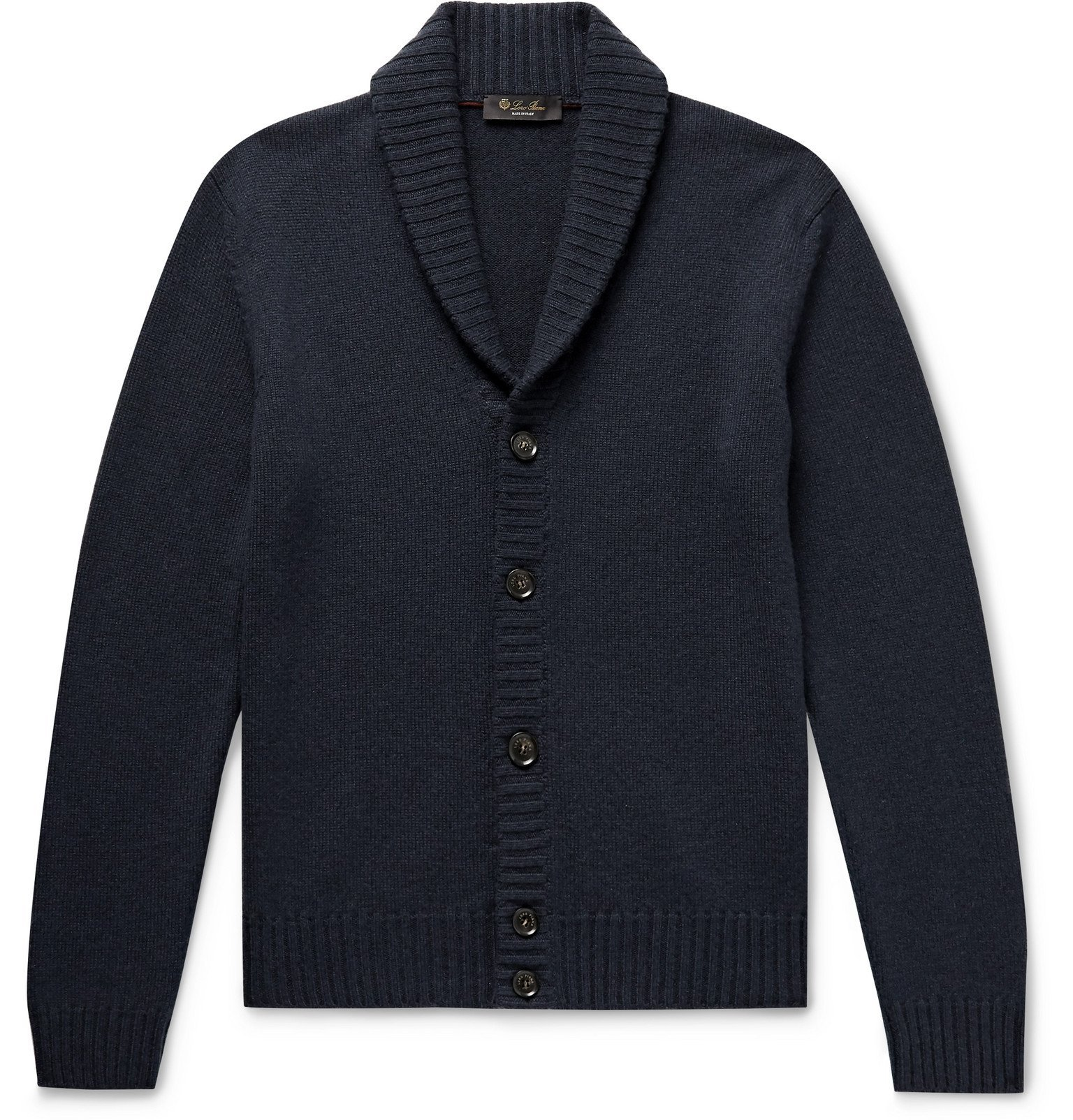Photo: Loro Piana - Shawl-Collar Cashmere Cardigan - Blue