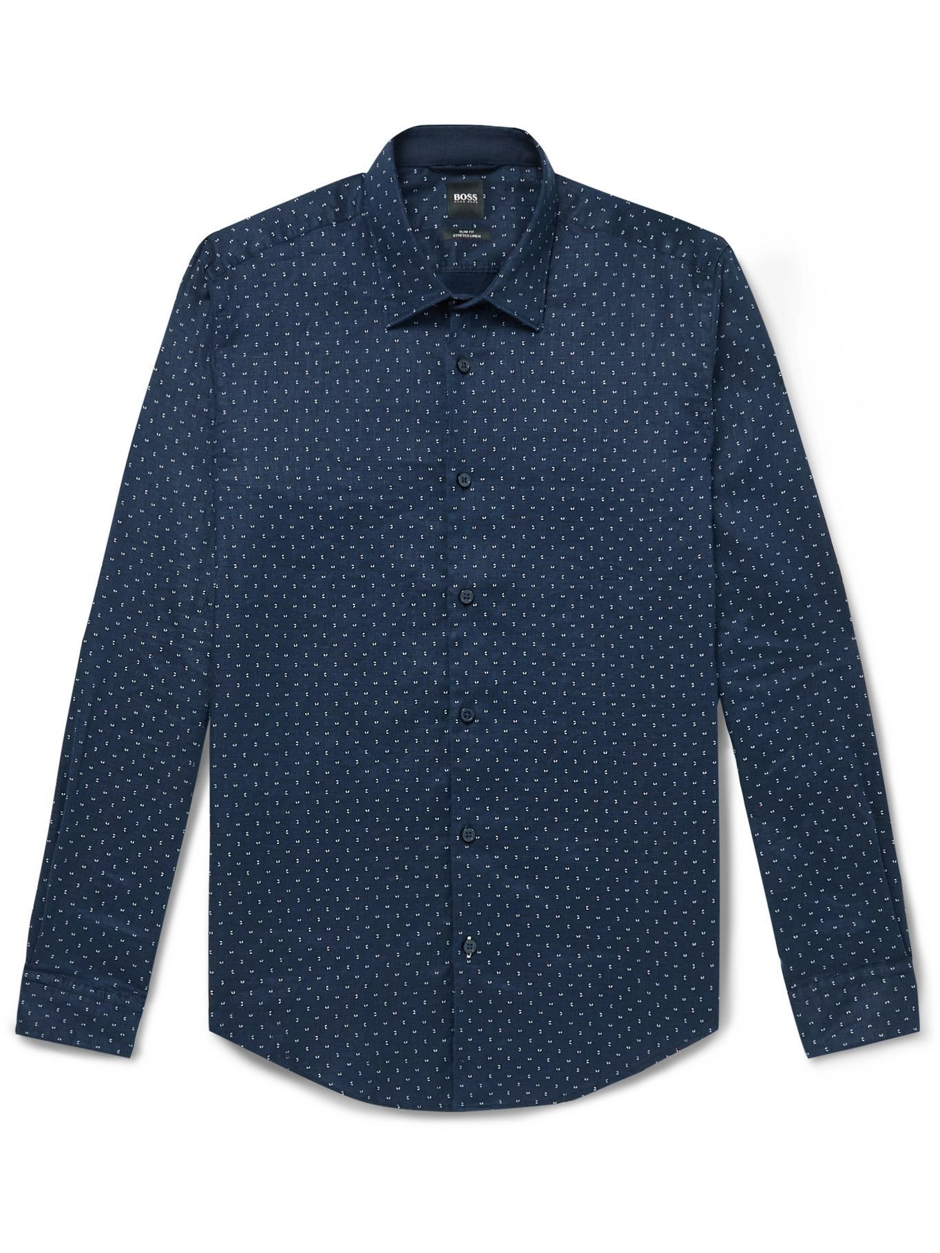 Photo: HUGO BOSS - Slim-Fit Polka-Dot Linen-Blend Shirt - Blue