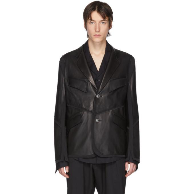 Photo: Sulvam Black Leather Jersey Jacket