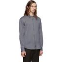 Giorgio Armani Navy and White Striped Jersey Zip Shirt