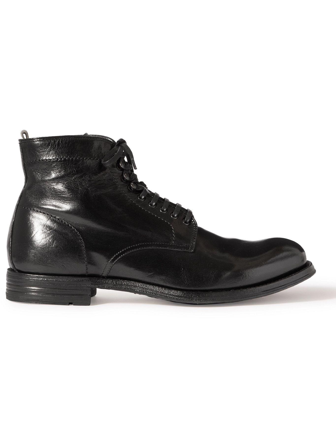 Photo: OFFICINE CREATIVE - Balance Polished-Leather Boots - Black