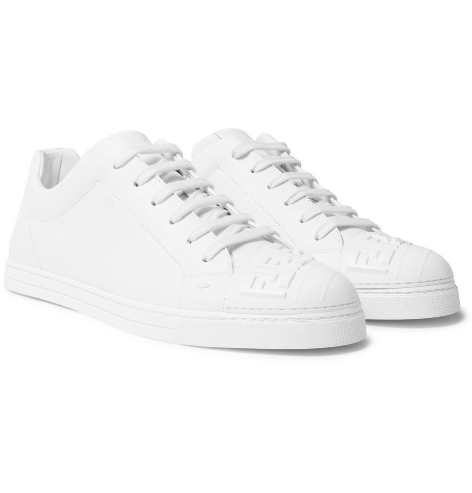 Photo: Fendi - Logo-Embossed Rubber And Leather Sneakers - White