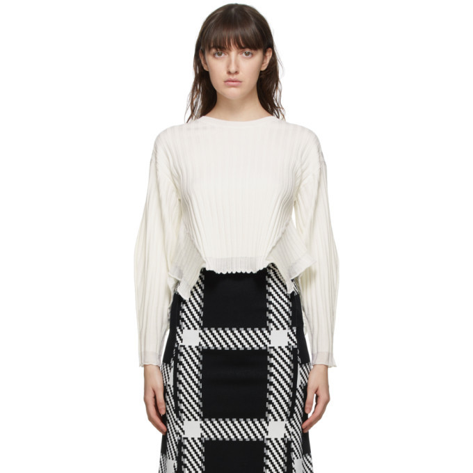 Stella McCartney White Wool Ribbed Sweater