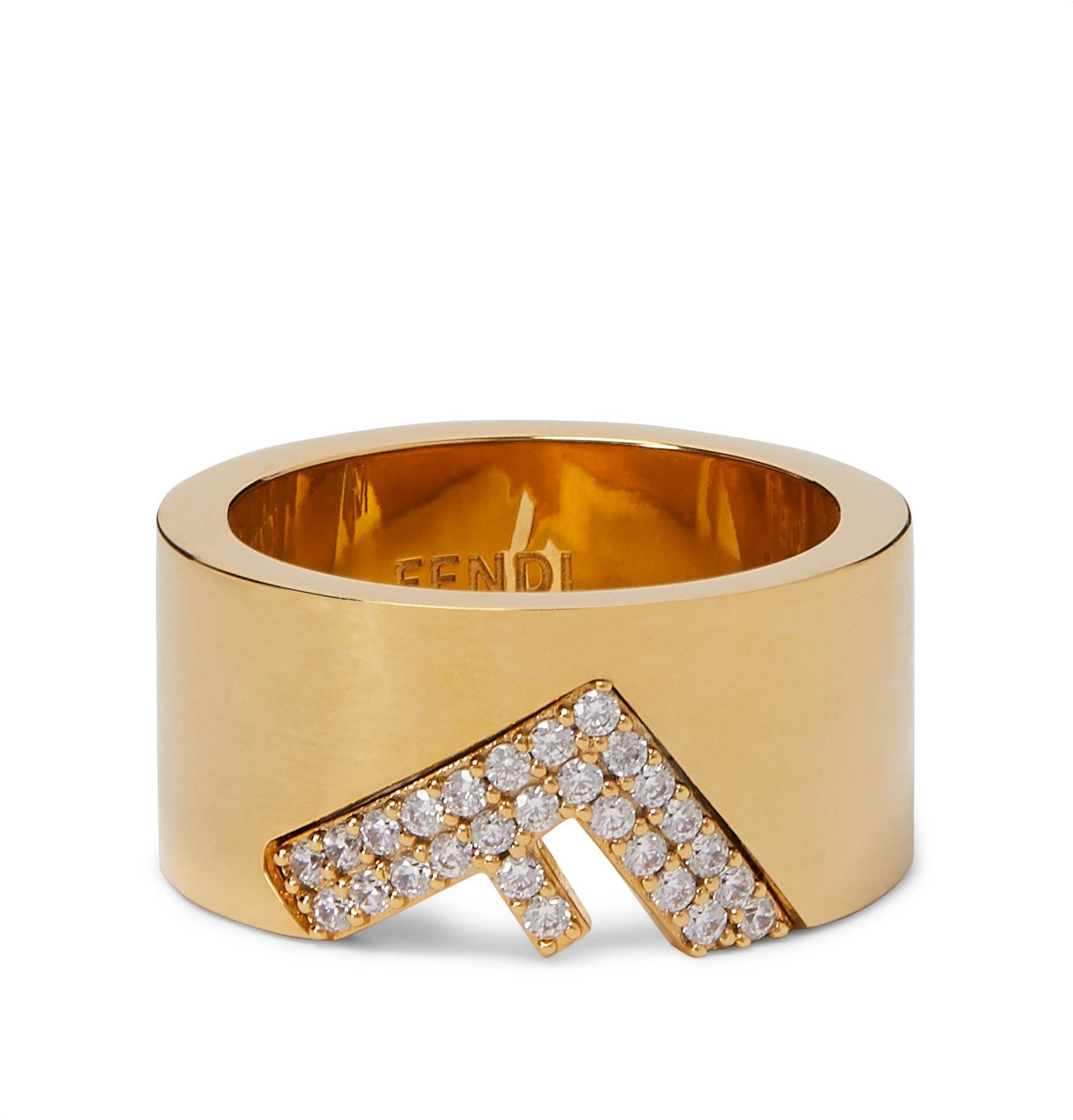 Photo: Fendi - Gold-Tone and Crystal Ring - Gold