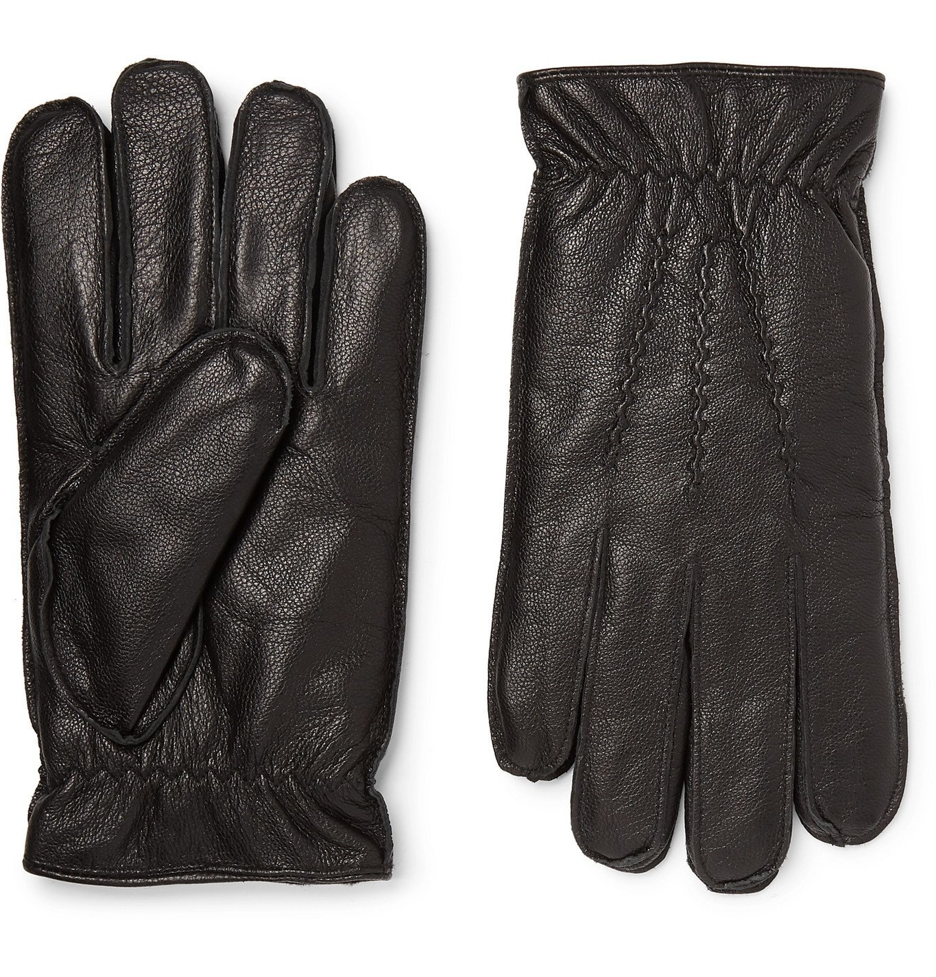 Photo: Dents - Faux Fur-Lined Leather Gloves - Black