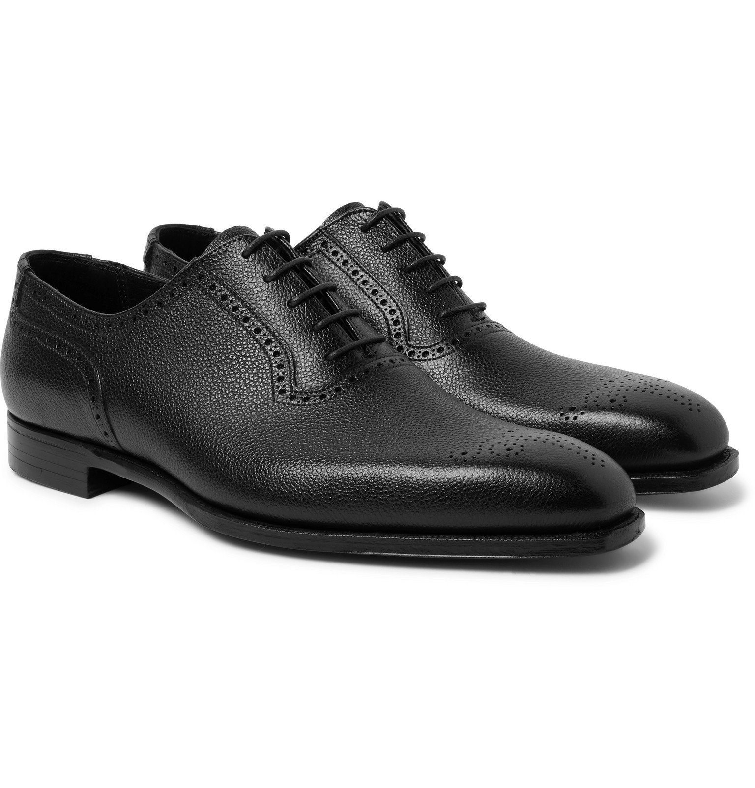 Photo: George Cleverley - Anthony Pebble-Grain Leather Oxford Brogues - Black