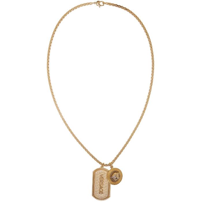Versace Gold Dog Tag Necklace Versace 2cc3b1156df