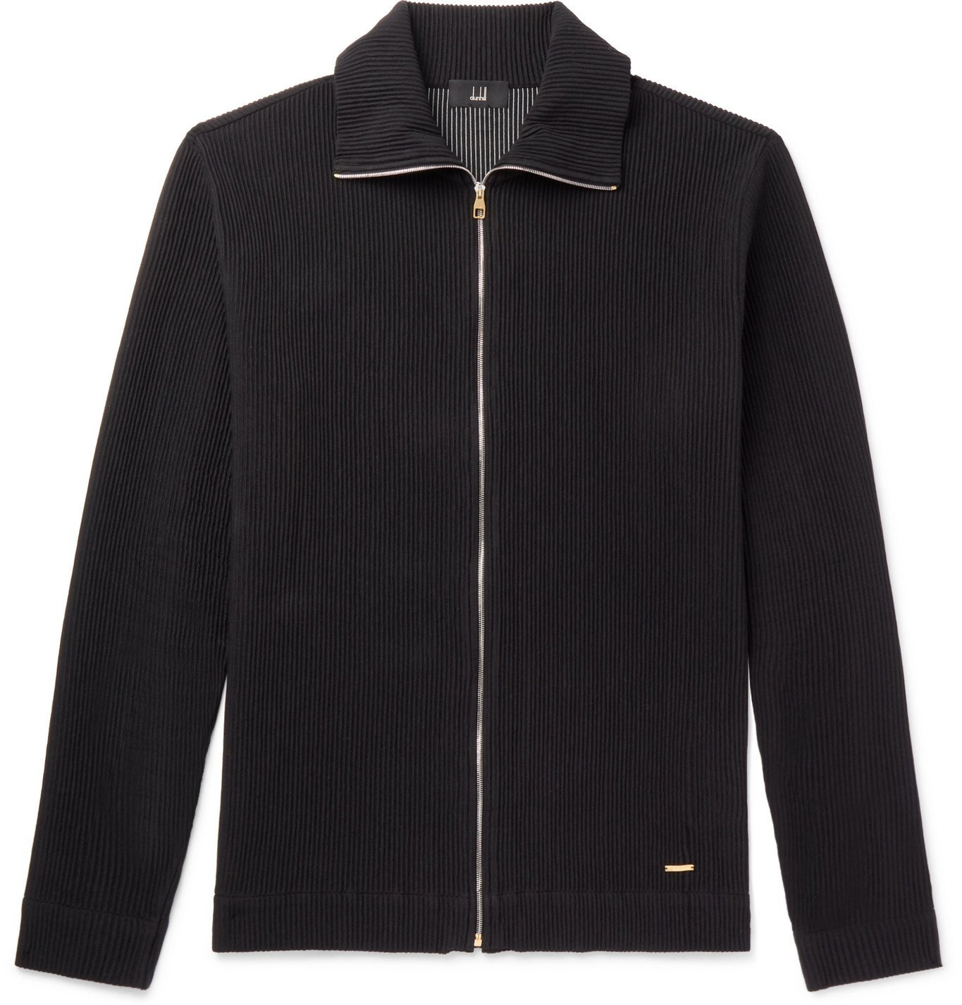 Dunhill - Ribbed Stretch Cotton-Blend Zip-Up Sweater - Black