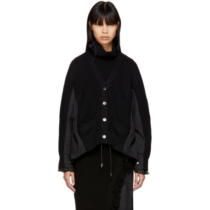 Sacai Black Classic Shirting Cardigan