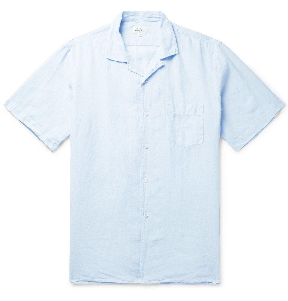Photo: Hartford - Palm Camp-Collar Linen Shirt - Light blue