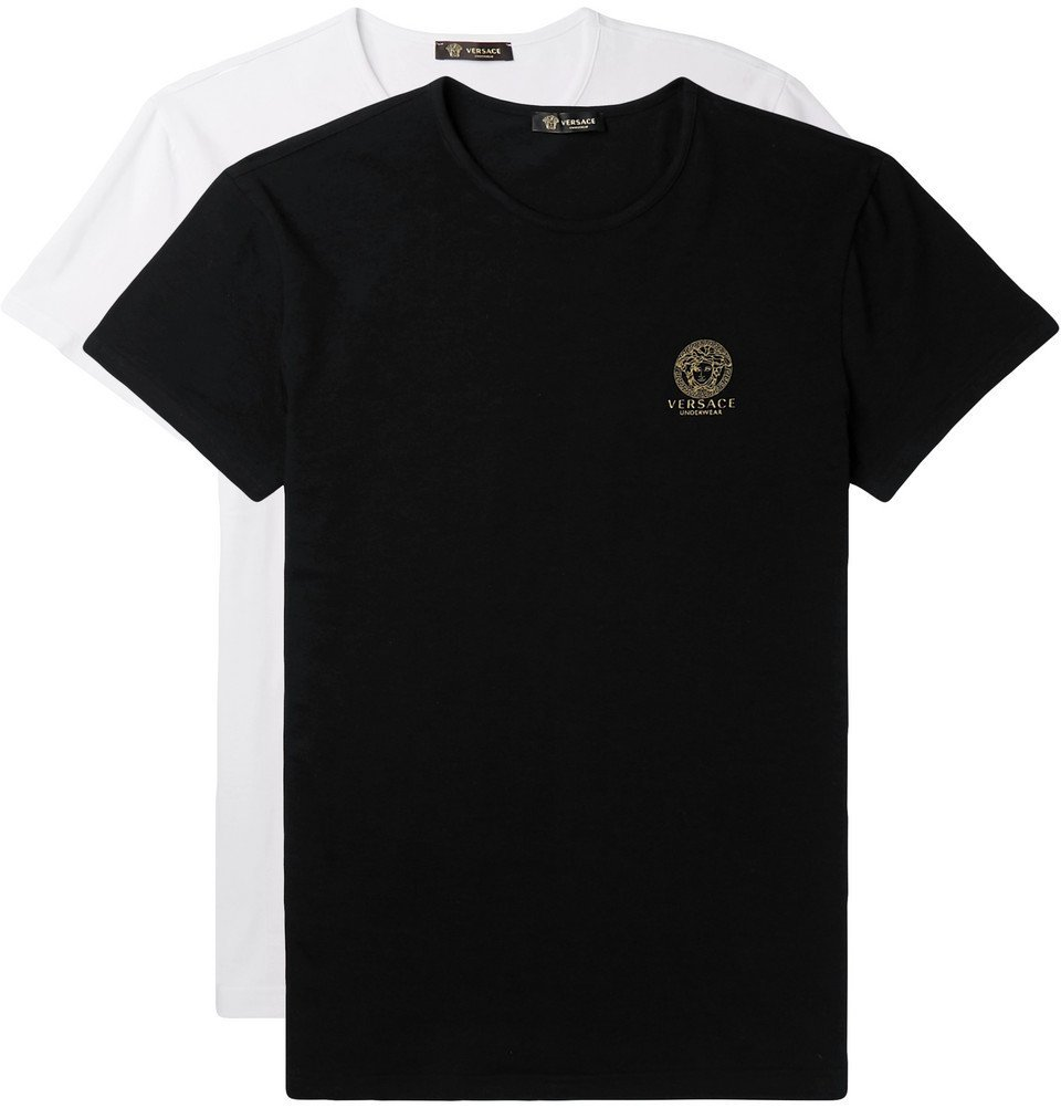 Photo: Versace - Two-Pack Slim-Fit Stretch-Cotton Jersey T-Shirts - Black