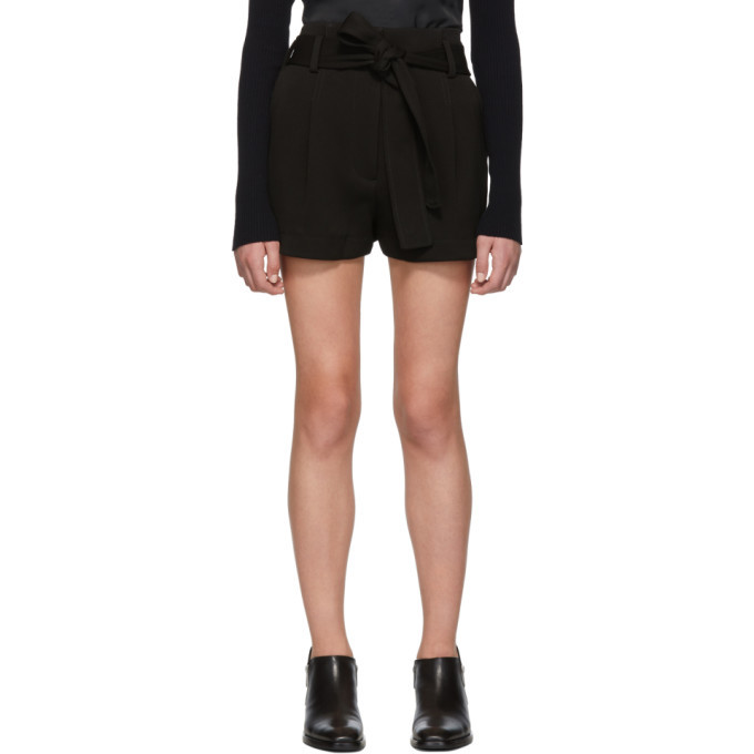 3.1 Phillip Lim Black High Waisted Twill Shorts