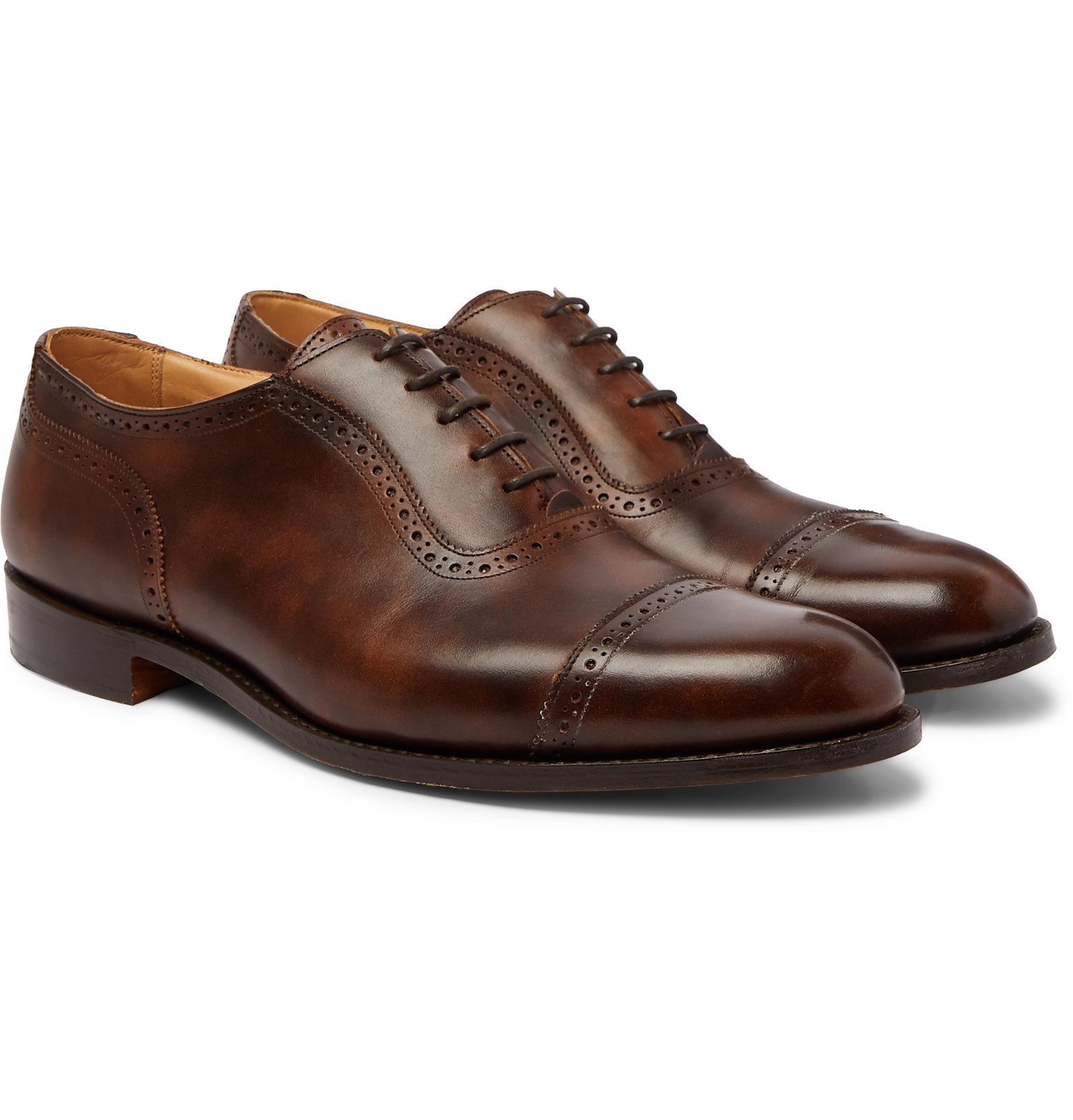 Photo: Tricker's - Trenton Cap-Toe Leather Oxford Brogues - Brown