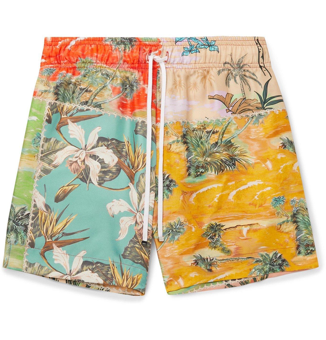Photo: AMIRI - Printed Silk-Twill Drawstring Shorts - Multi