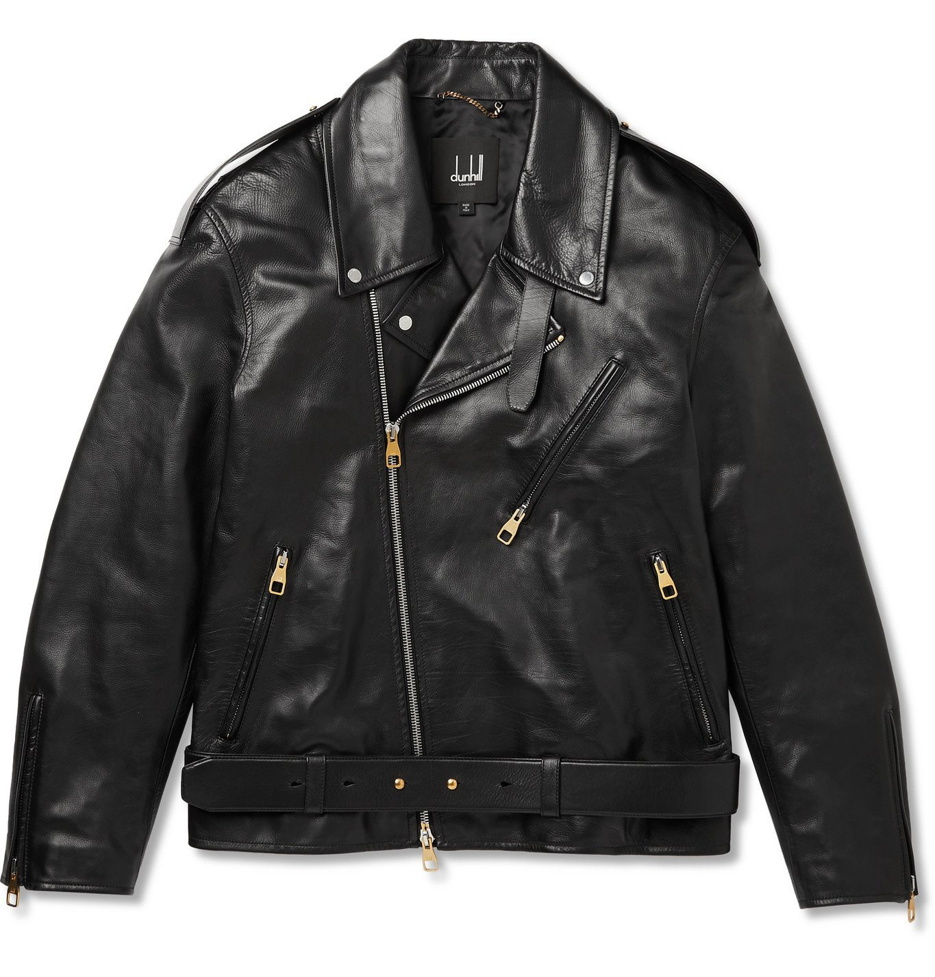 Photo: Dunhill - Duke Oversized Belted Leather Biker Jacket - Black
