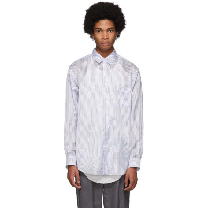 Photo: Comme des Garcons Shirt White and Blue Striped Lining Forever Shirt