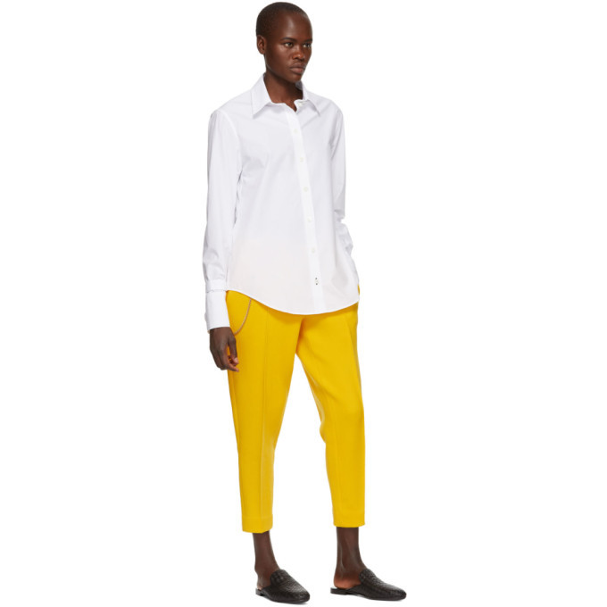 Bottega Veneta Yellow Wool Cropped Trousers