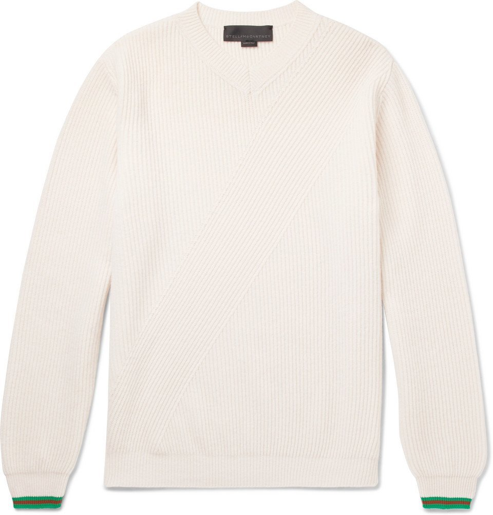 Photo: Stella McCartney - Stripe-Trimmed Virgin Wool Sweater - Men - Ivory