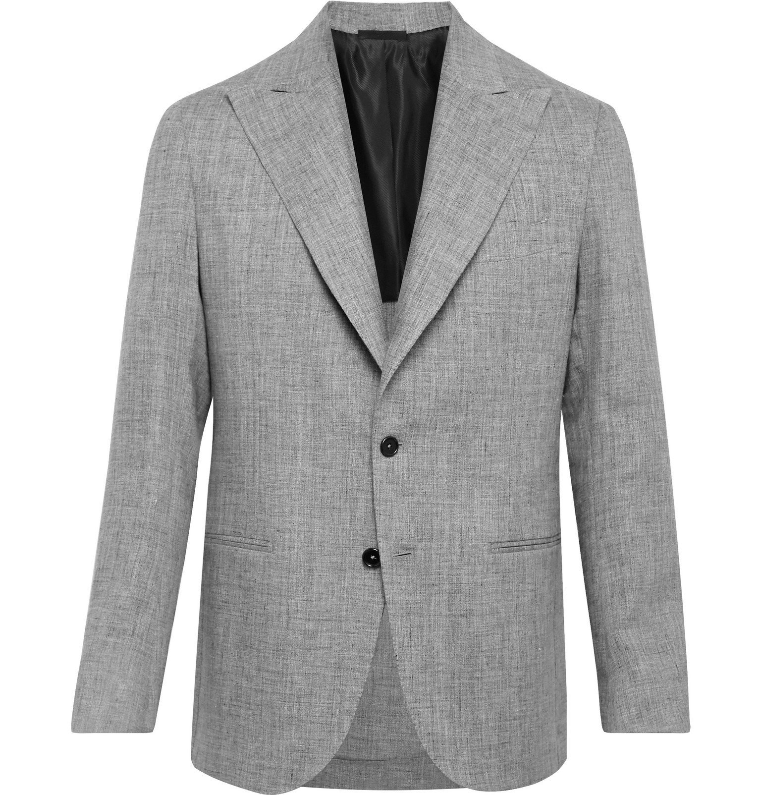 Photo: De Petrillo - Mergellina Slim-Fit Mélange Linen Suit Jacket - Gray