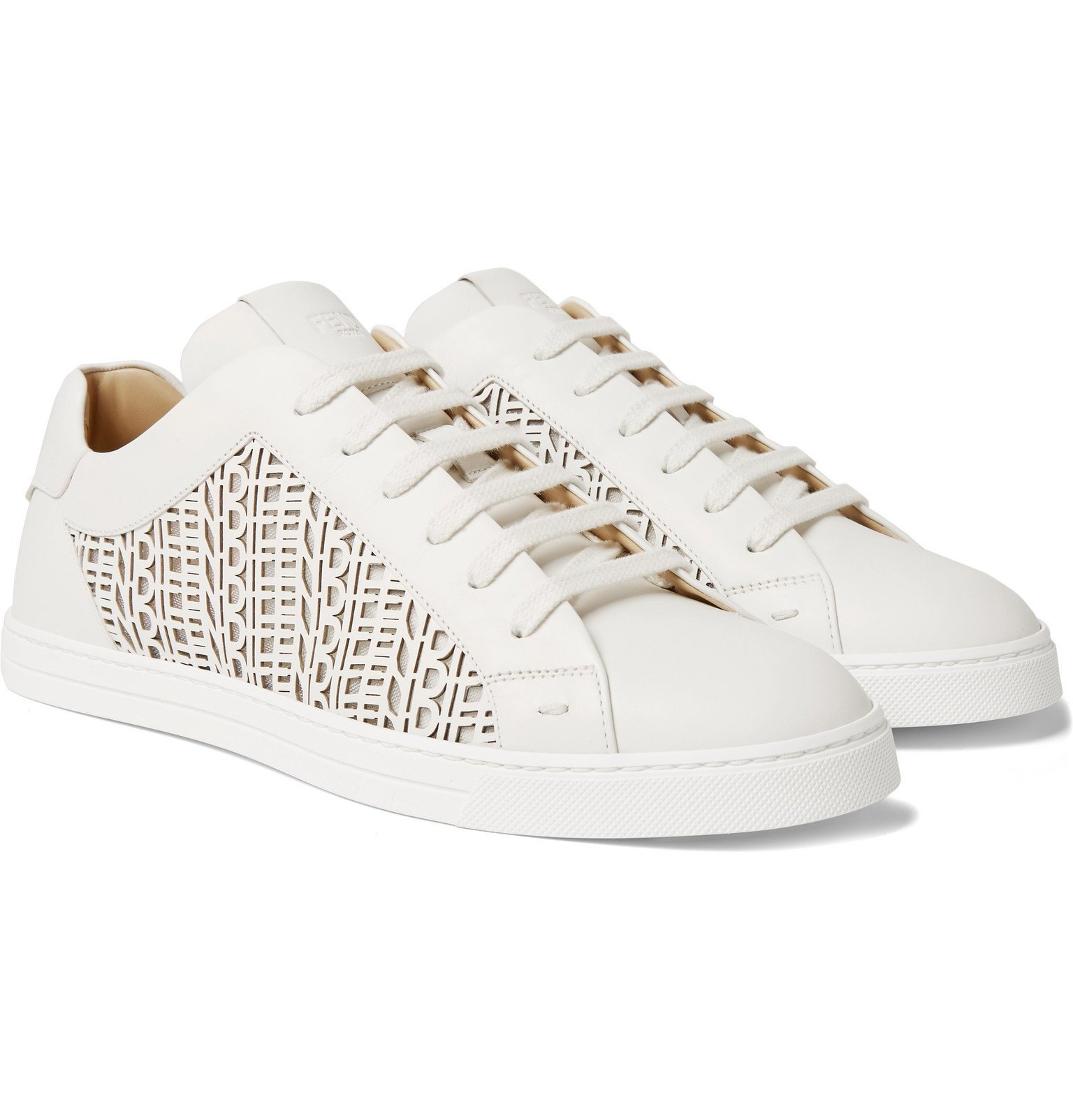 Photo: Fendi - Logo-Detailed Laser-Cut Leather Sneakers - Neutrals