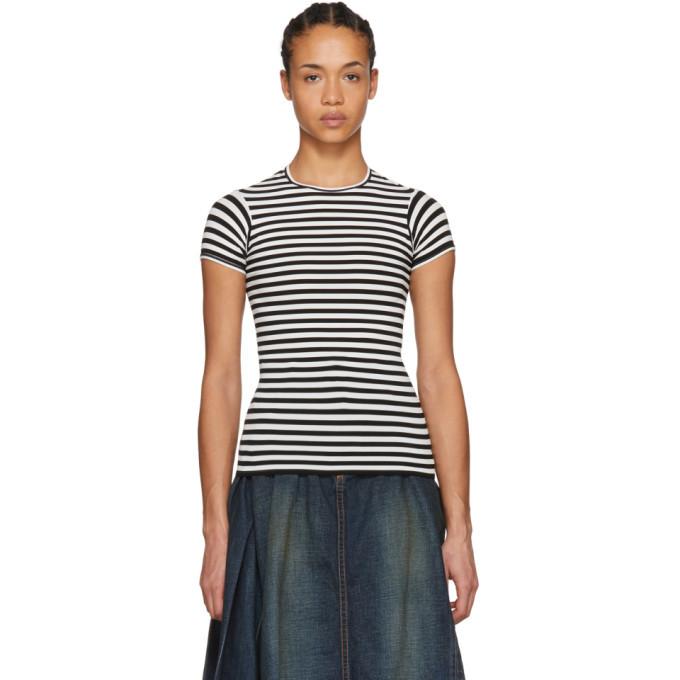 Photo: Junya Watanabe White and Black Shrunken Stripe T-Shirt