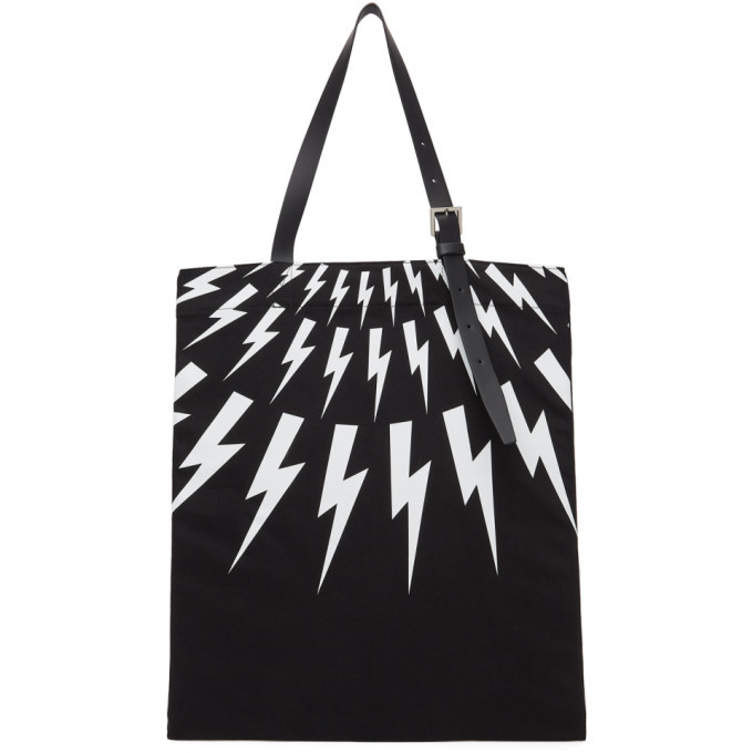 Photo: Neil Barrett Black Fair-Isle Thunderbolt Tote