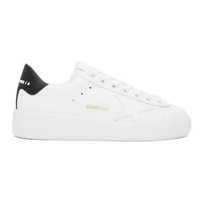 Photo: Golden Goose White and Black Pure Star Sneakers