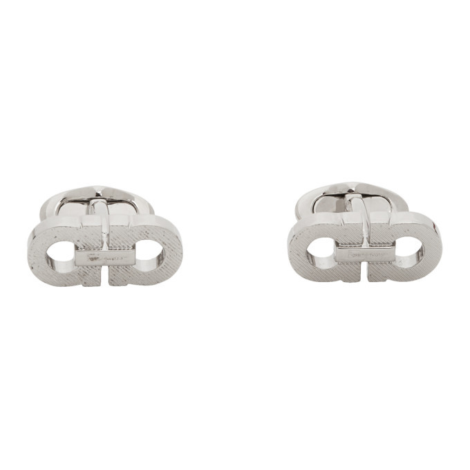 Photo: Salvatore Ferragamo Silver Riga Cufflinks
