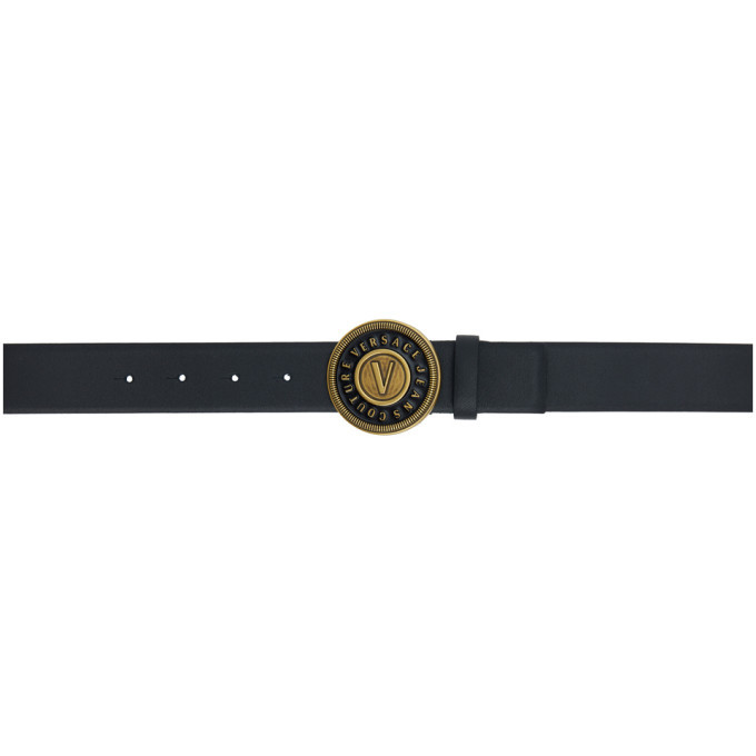 Photo: Versace Jeans Couture Black and Gold Round Buckle Belt