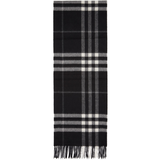 Photo: Burberry Black Cashmere Giant Check Scarf