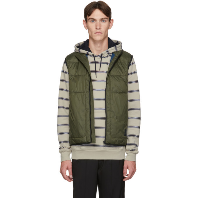 Photo: PS by Paul Smith Khaki Insulated Quilted Gilet Vest