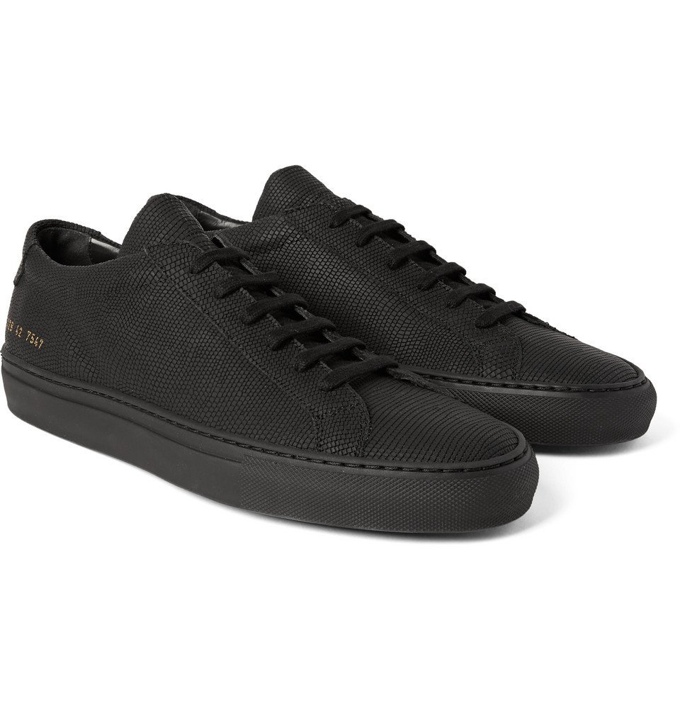 Common Projects - Achilles 3D Textured Rubberised-Leather Sneakers - Men - Black
