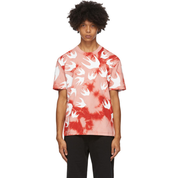 Photo: McQ Alexander McQueen Pink and Red Tie-Dye Swallows T-Shirt