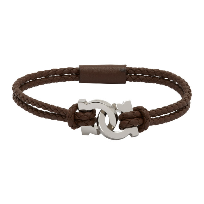 Photo: Salvatore Ferragamo Brown Woven Gancini Bracelet
