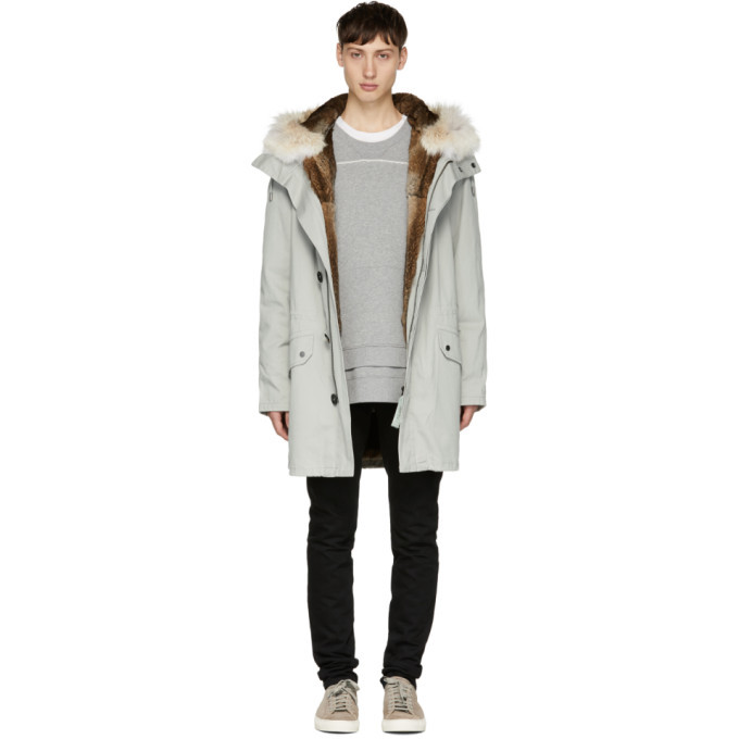 Photo: Yves Salomon Grey Fur-Lined Long Military Parka
