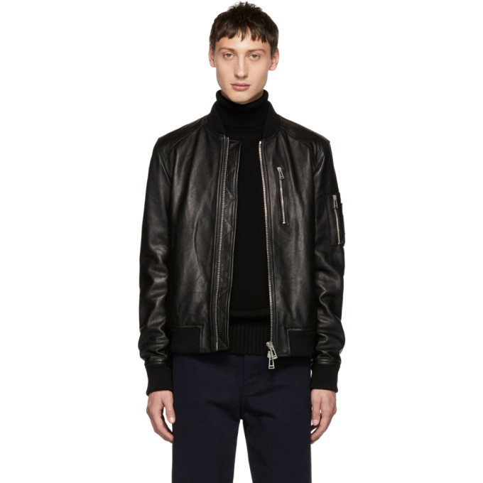 Photo: Belstaff Black Leather Clenshaw Jacket