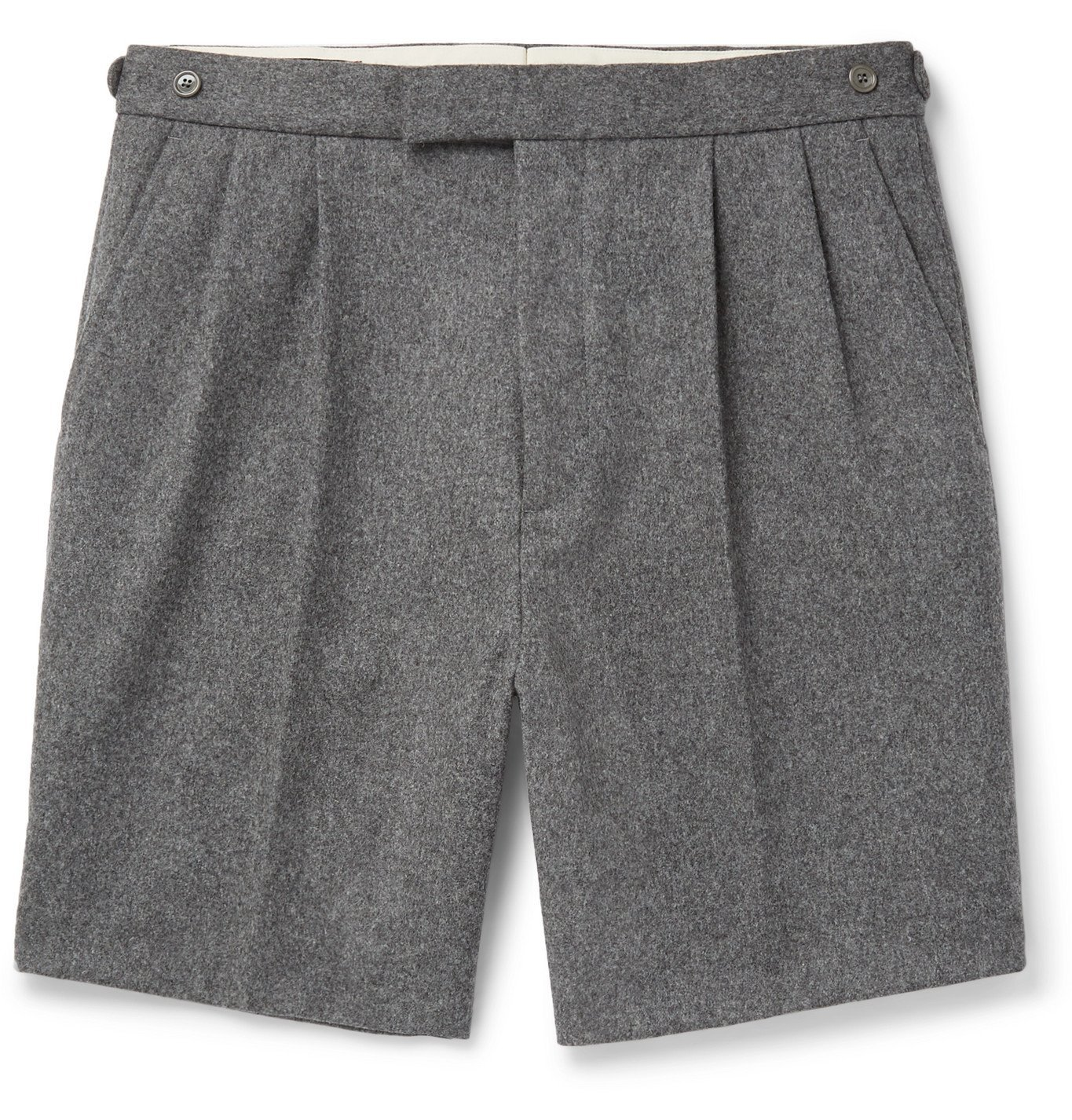 Photo: GUCCI - Wide-Leg Pleated Wool-Flannel Shorts - Gray