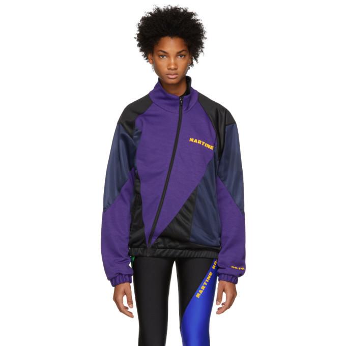 Martine Rose Purple and Black Twist Track Zip-Up Jacket