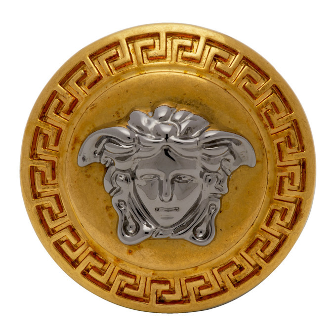 Photo: Versace Gold and Silver Round Medusa Greek Ring