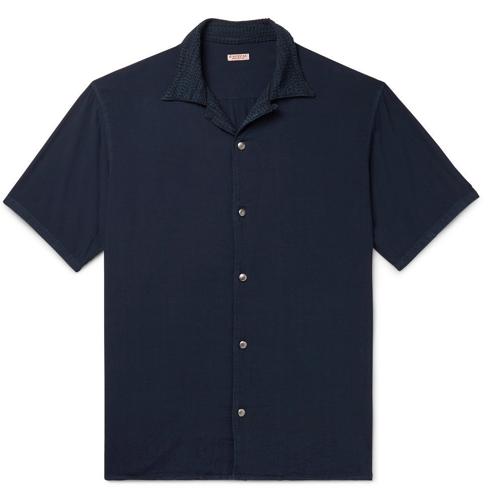 Photo: KAPITAL - Camp-Collar Embroidered Voile Shirt - Navy