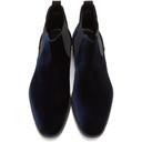 Giorgio Armani Navy Velvet Chelsea Boots