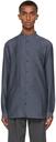 Giorgio Armani Navy Lyocell-Blend Pocket Shirt