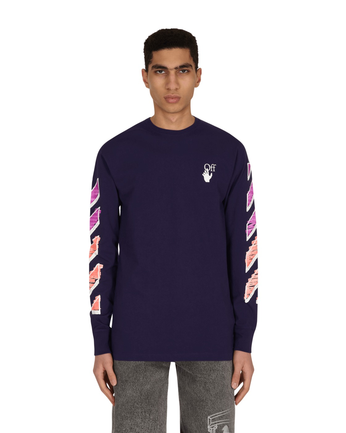 Photo: Off White Marker Longsleeve T Shirt Aura/Fuchsia