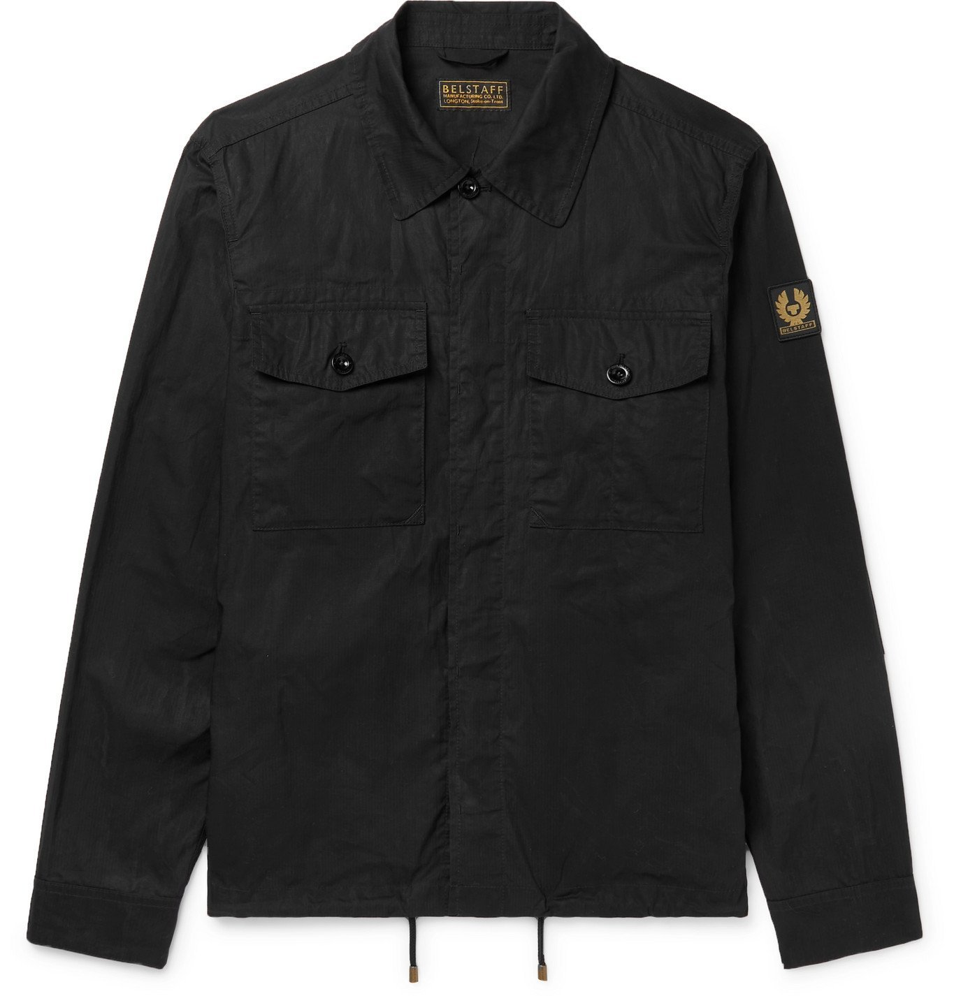 Photo: BELSTAFF - Recon Logo-Appliquéd Waxed Cotton-Ripstop Overshirt - Black