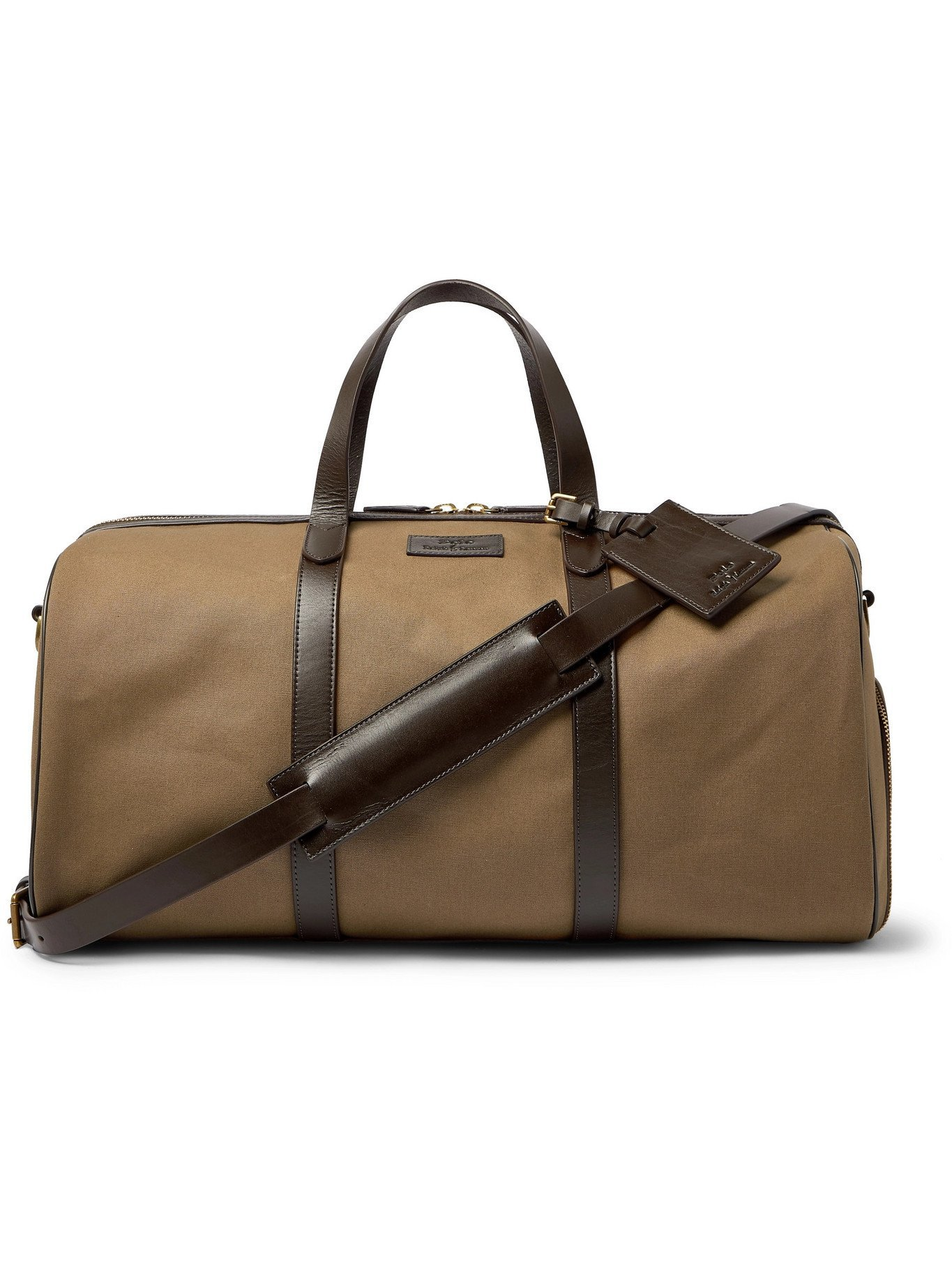 Photo: POLO RALPH LAUREN - Leather-Trimmed Canvas Duffle Bag - Brown