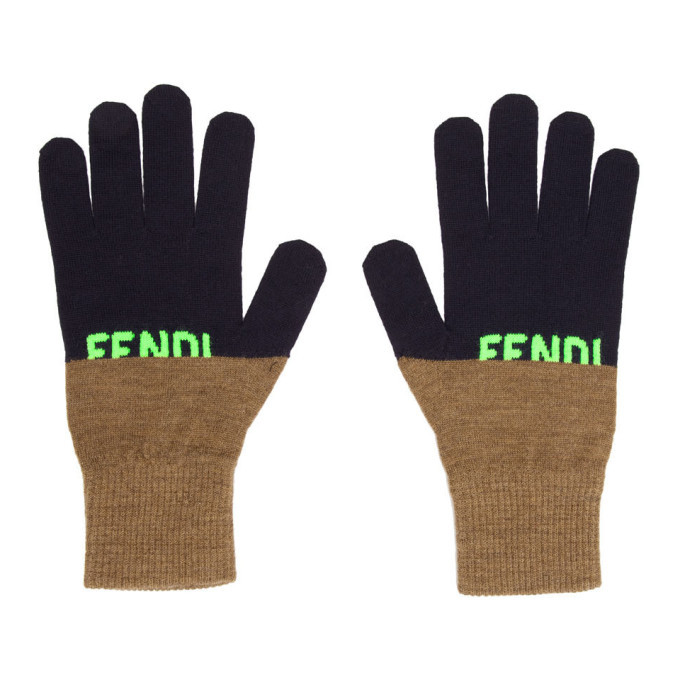 Photo: Fendi Navy Logo Gloves