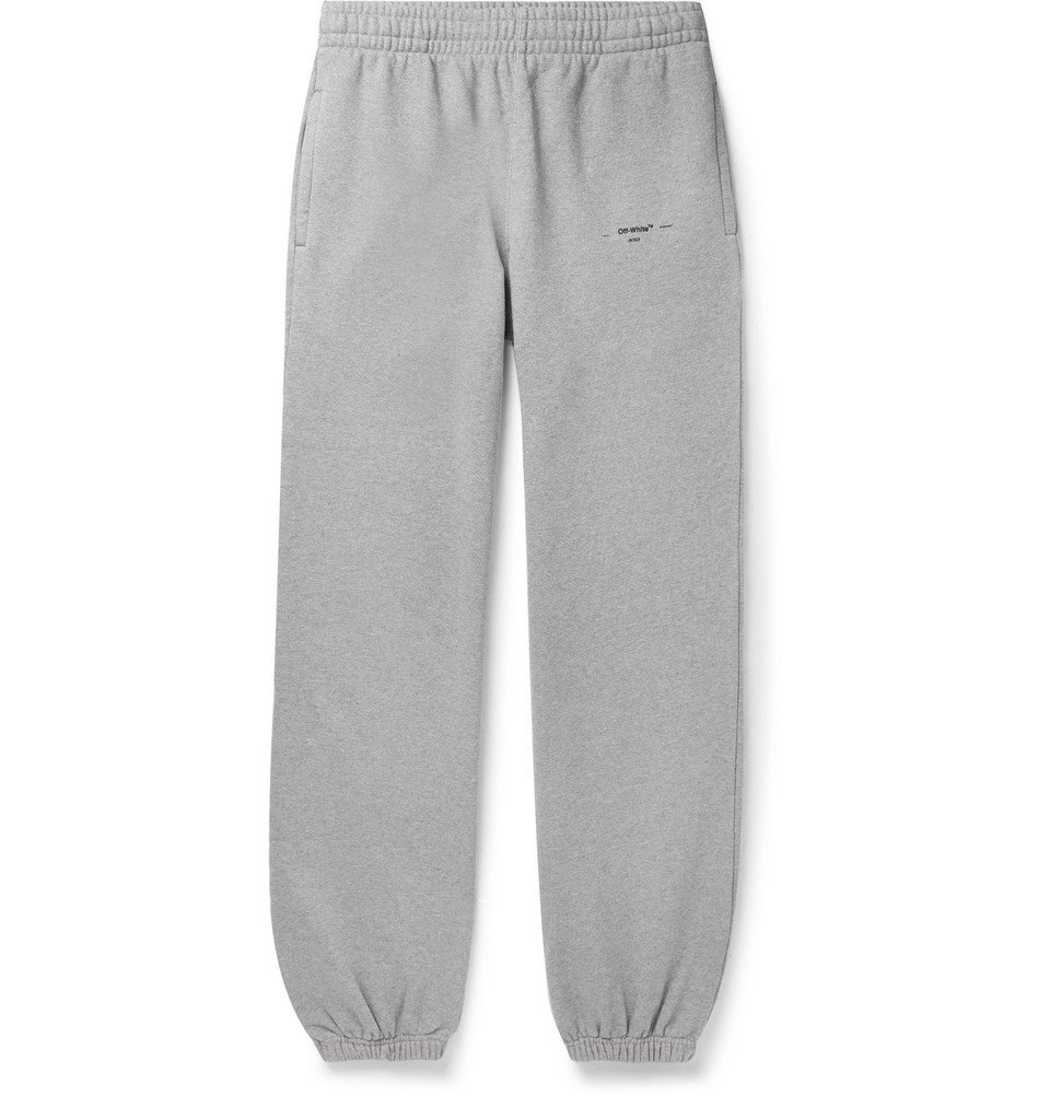 Photo: Off-White - Logo-Print Loopback Cotton-Jersey Sweatpants - Gray